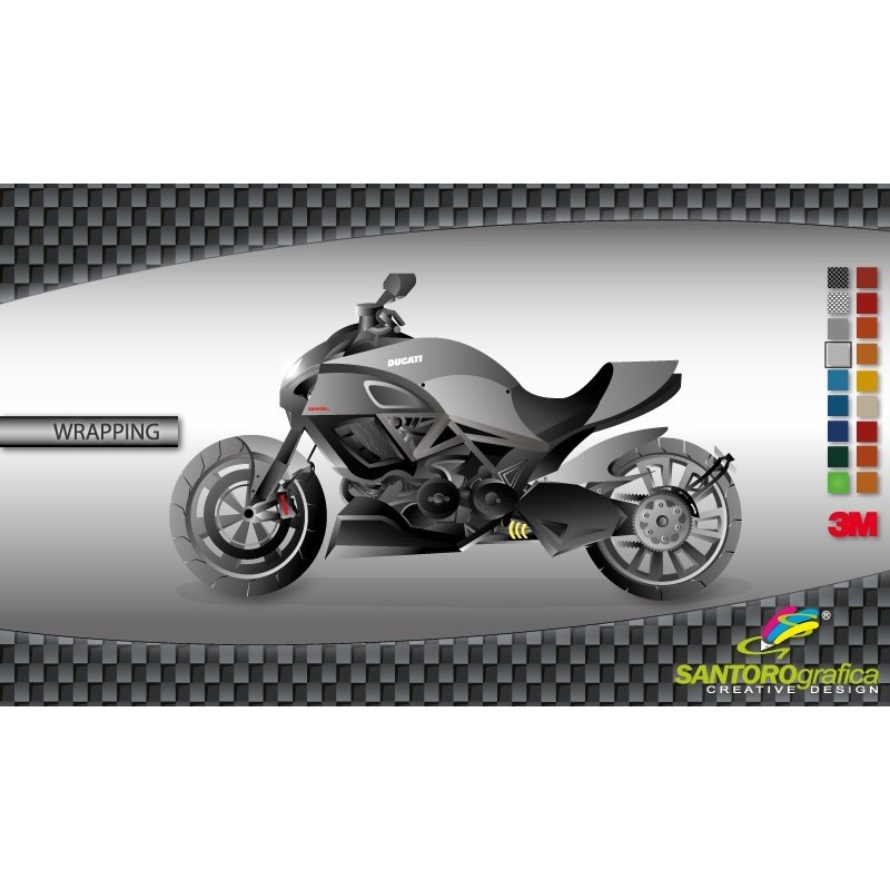 Argento sterlina lucido 3M - Pellicola wrapping moto
